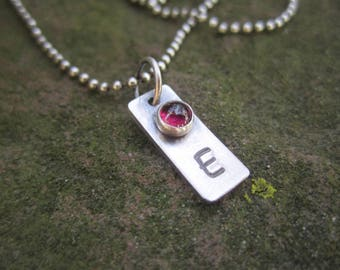 Sterling Silver Birthstone Tag With Initial - Additional Tag only, No Chain.