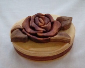 Rose intarsia jewelry/trinket box