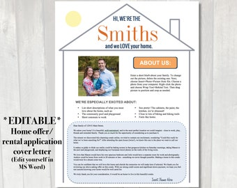 EDITABLE Home offer letter | Customizable cover letter for house buying offer | Rental application letter | Letter to seller with picture