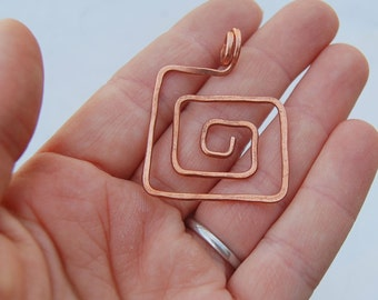 Square spiral copper pendant hammered wire pendant
