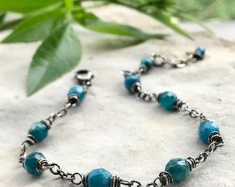 Apatite Bracelet, Silver Teal Blue Bracelet, Adjustable Layering Bracelet, Simple Boho Gift for Her