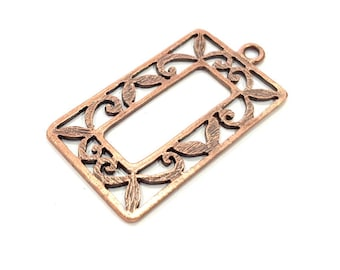 2 Copper Charm Antique Copper Charm Antique Copper Plated Metal (46x24mm) G11605