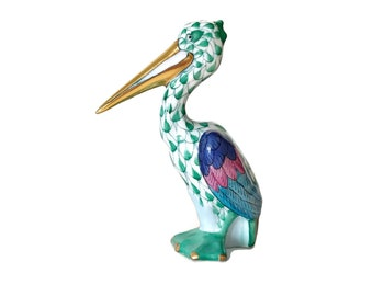 Herend Pelican Figurine Hungarian Porcelain Bird Seashore Coastal