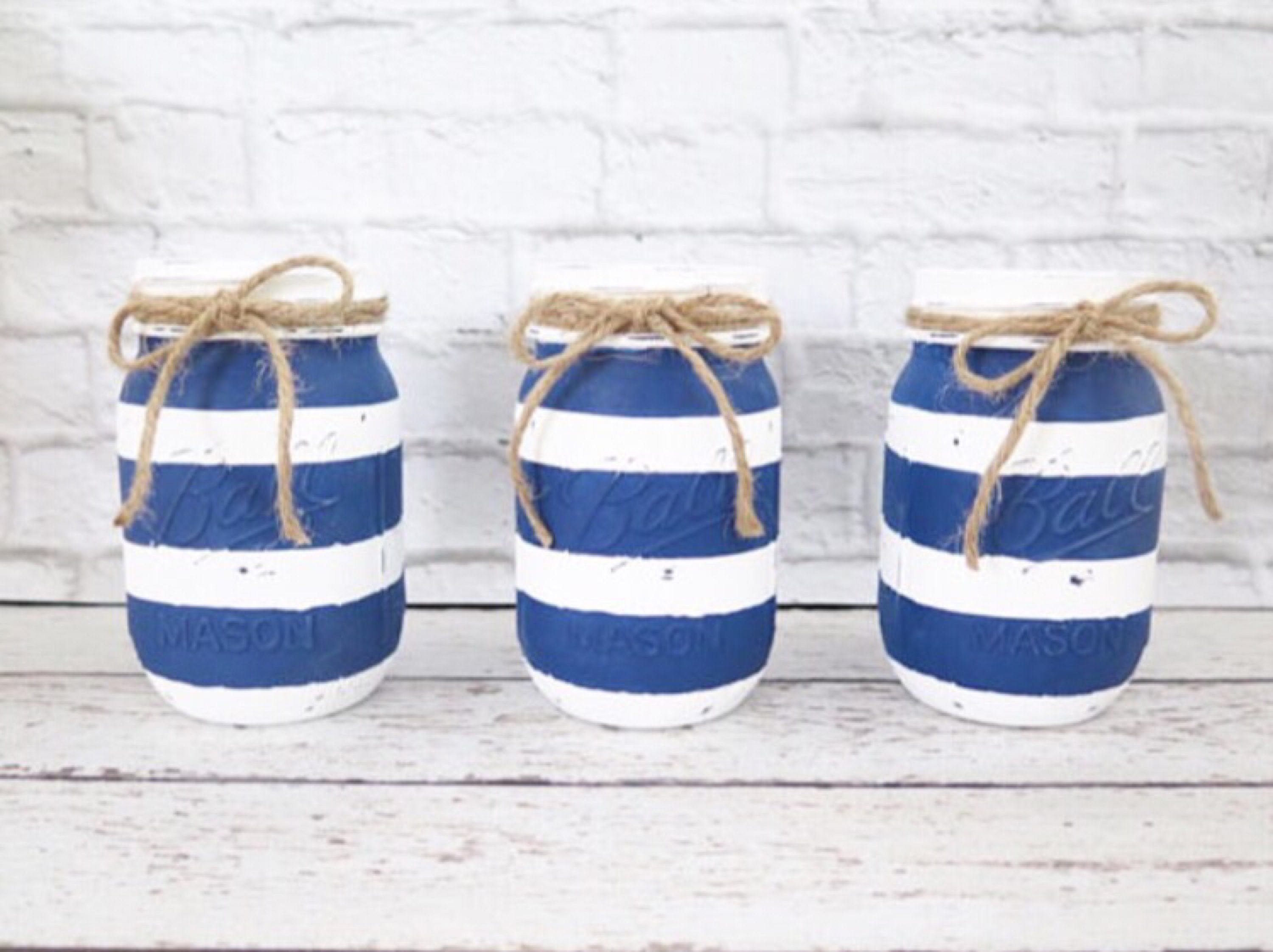 Striped Navy Blue and White Mason Jars-Baby Shower