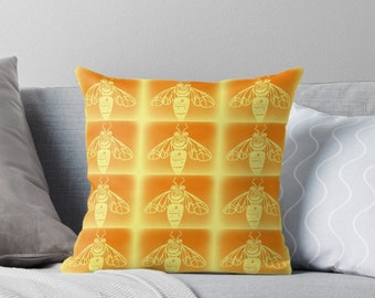 bee, bees, bee print, bee prints, bee art, bee drawing, insect, yellow, insects, honey, hive, bee cushion, bee pillow, orange, with, bright