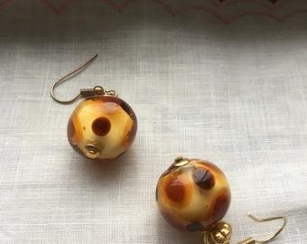 Vintage glass dotted orb dangle pierced earrings