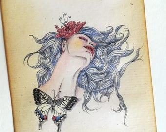 Butterfly Woman Art Original Artwork, Woman Drawing, Butterfly Drawing, Antique Paper, Butterfly Artwork, Surreal Artwork, Butterfly Decor