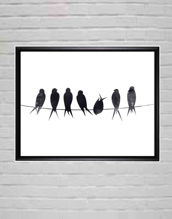 birds on wire black and white wall art minimalist poster. Black Bedroom Furniture Sets. Home Design Ideas