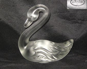 Fenton Glass Swan Bird Animal Figurine Clear Frosted Marked