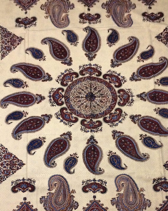 "Handmade 6 seater Tablecloth, 76"" x 52"" paisley design, block printed mandala Tapestry art , bedspread with natural dyes and tassels"