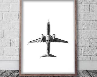 Plane Print Digital Download, Scandinavian Poster, Printable Photography, Airplane Art, Aviation Wall Art, Monochrome Decor, Jet Print