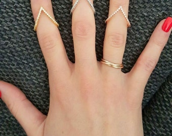 V Ring ~ Thin Gold Ring ~ V Ring Sterling Silver ~ Crystal V Ring ~ Midi ~ Above the Knuckle Rings ~ Solitaire Ring ~ Mothers Day Gift
