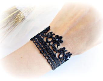 Black lace bracelet embroidered lace flowers bracelet black bridesmaid bracelet wedding jewelry bridesmaid jewelry black flower bracelet