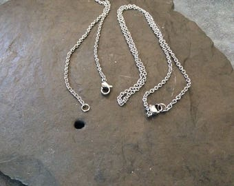 1 - 16 inch silver plated Rolo chain, polished chain, lobster claw clasp-  FAST SHIPPING