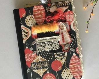 Handmade 100pg December Journal Emebellished Composition Book w/Paperdoll