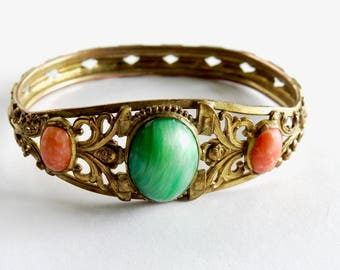 Antique Victorian Brass Cuff with Agate Cabochons