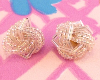 Vintage post earrings with aurora borealis seed and bugle beads