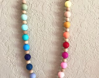 Silicone Teething Necklace, Nursing Necklace, Chew Beads, rainbow