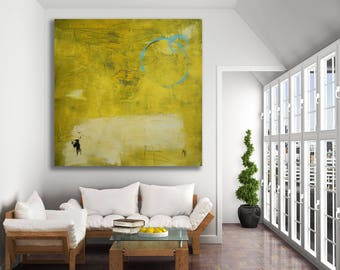 Textured Yellow Abstract Painting / Large Yellow Art / Modern Art / Monochrome Yellow Painting / Yellow and Blue Art / Extra Large Art