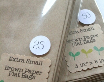 QTY 150 Extra Small Recycled Brown Paper Flat Merchandise Bags - 3 1/4 Inches x 5 1/4 Inches