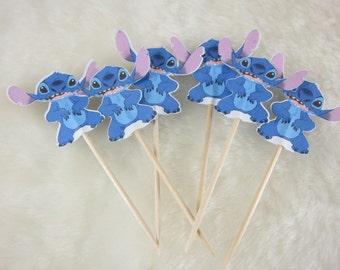 Set of  Stitch cupcake topper double sided, cupcake picks, Lilo & Stitch theme party