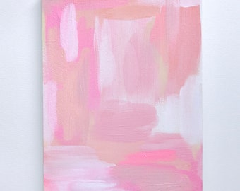 """Original Abstract Painting on Canvas """"Pink Paintstrokes"""""""