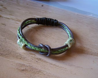 """Bracelet style ethnic """"Earth and""""leather jewelry and ceramics"""