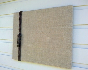 Bulletin Pinboard for Country Chic design, vintage leather belt accent, One of a Kind Photo Memory Board for a rustic cabin or dorm room