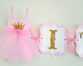 Princess Baby Shower Banner, Princess Birthday Banner, Pink and Gold Banner - Sleeveless Tutu Onesie