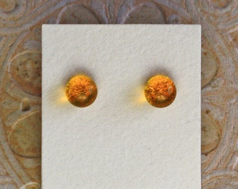 Dichroic Glass Earrings, Petite, Marigold  DGE-1345