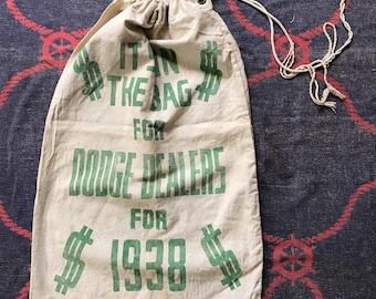 Vintage Dodge Dealer Promo Drawstring Canvas Bag 1930~1940s (RARE)