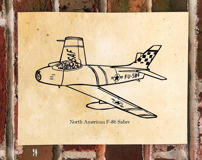 KillerBeeMoto: North American F-86 Sabre Aircraft Print 1 of 50