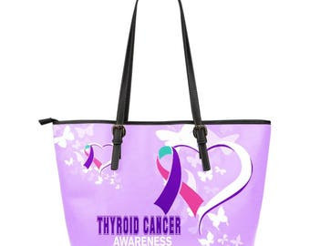 Thyroid Cancer Awareness Leather Tote Bag