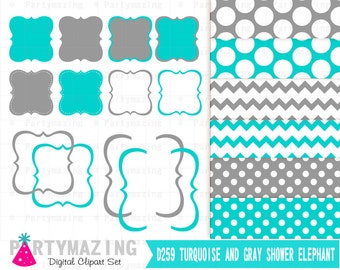 Turquoise Bracket Frames And Paper Pack Clipart Set Clip Art Digital Graphic Scrapbooking