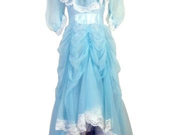 vtg 70s 80s Minty Light Blue Puffy Princess Sleeve Prom Dress Big Bow Chiffon 32
