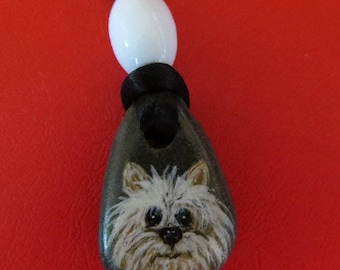 Hand-painted Whimsical Terrier Pup Pendant...FREE Shipping!