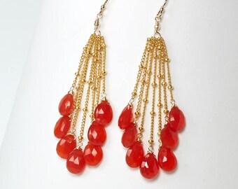 Carnelian earrings - Orange Carnelian tassel chain earrings, Orange gemstone dangle earrings in Gold filled, Gift for Her, Carnelian Jewelry