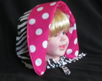 12 months 1 year - Reversible Pink Polka Dot/Zebra Hat Bonnet with Fold Back Brim