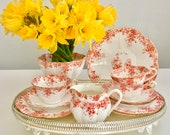 SOLD - Romantic Victorian tea set for three, Wileman 1895