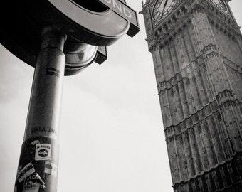 Underground sign, Big Ben, London 2013.