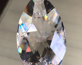 Crystal Clear Teardrop Prism Pendant - X-X-Large Clear Glass Crystal Prism - Suncatcher Prism - 63x38x20mm - Sold Individually (#672)