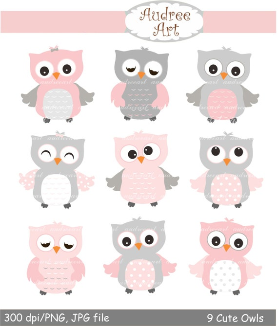 9 cute owls clipart pink owls baby pink and grey owls baby rh etsy com pink and brown owl clip art cute pink owl clip art