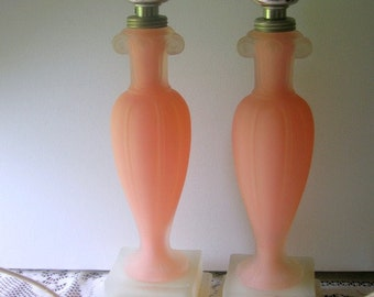 Aladdin Frosted Glass Pink and White Boudoir Lamps G21