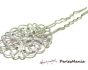 10 blank HAIRPIN lace oval silver plate