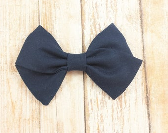 Navy Blue Hand-Tied Fabric Bow Clip or Nylon Headband / Blue Sailor Bow / Hand Tied Bow/ Navy Bow Headband/ Baby Bow Headband/ Blue Bow Clip