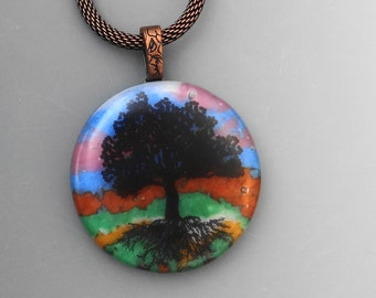 Tree of Life Jewelry, Round Glass Pendant, Tree of Life Pendant, Glass Image Pendant,  Round Fused Glass Pendant,  Stone Look Glass Pendant
