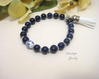 Navy Blue Tassel Bracelet, Stretch Bracelet, Stacking Bracelet, Layering Bracelet, Blue Bracelet, Blue Jewelry, Navy Blue Jewelry