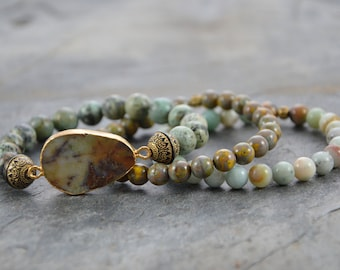 Triple Set of Artisan Stretch Bracelets with African Turquoise Electroplated Connector Bead, Czech Glass and Amazonite