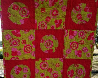 Baby Girl Quilt Lime Green and Fuschia Floral Print 29x29 Hearts on Reverse Side Handmade Baby Gift