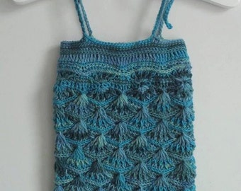 RTS Baby crochet mermaid romper in blues and greens, handmade romper size 3-6 months, unique photo prop
